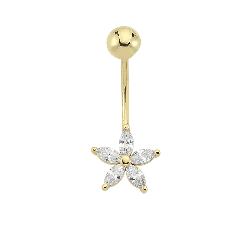 Altın Çiçek Göbek Piercing