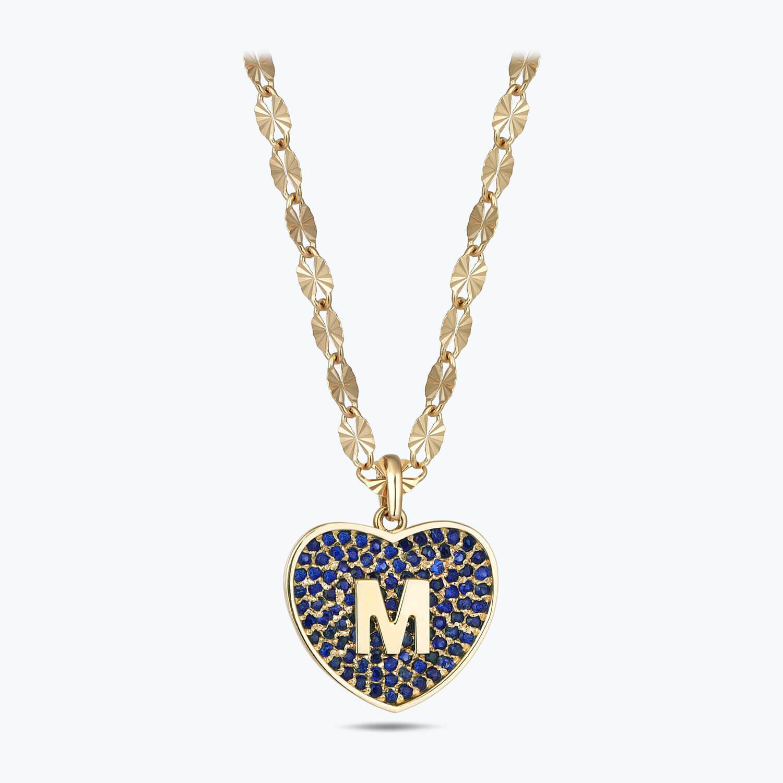 Altın Marin M Harfi Kalp Kolye