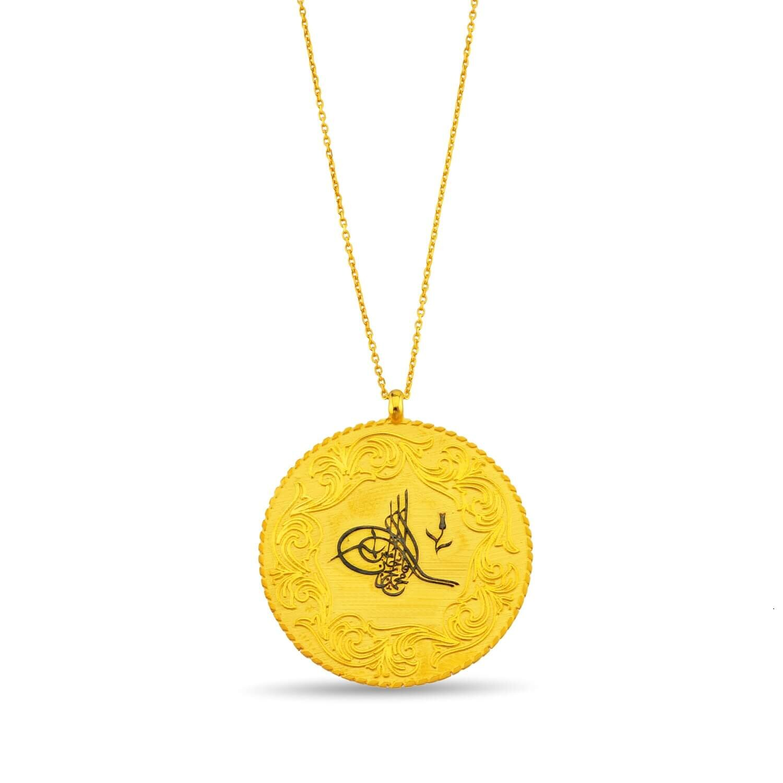 Altın Tuğralı Lira Kolye