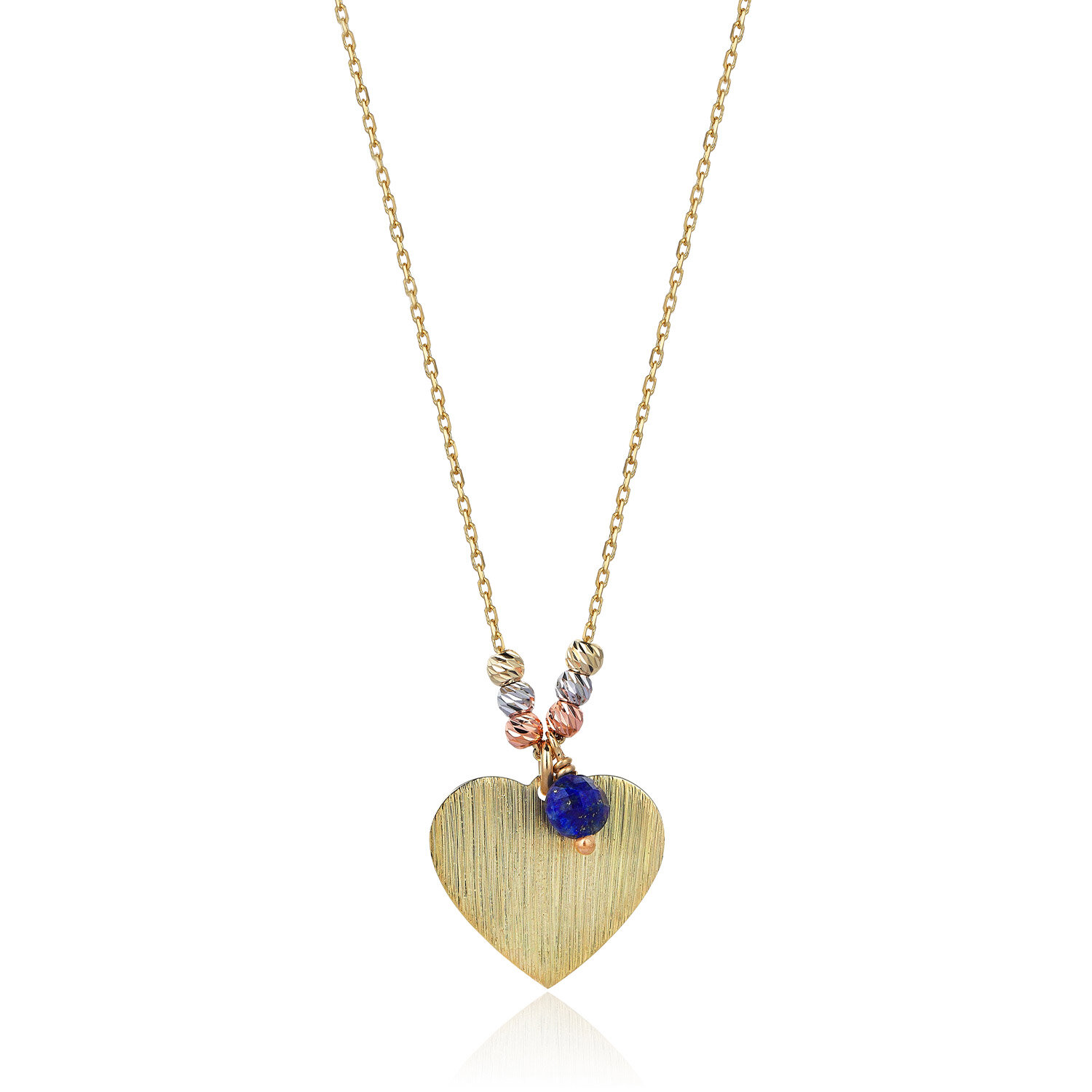 Heart Gold Necklace with Lapis Stone- Marin