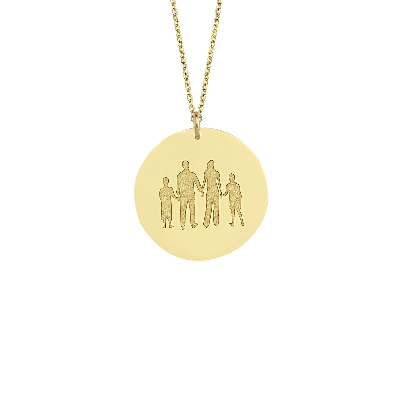 Altın İsimli Aile Kolye