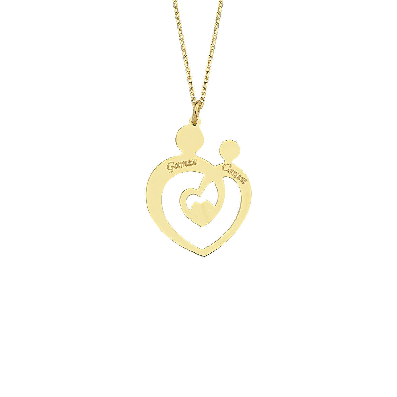 Altın İsimli Kalp Anne Çocuk Kolye
