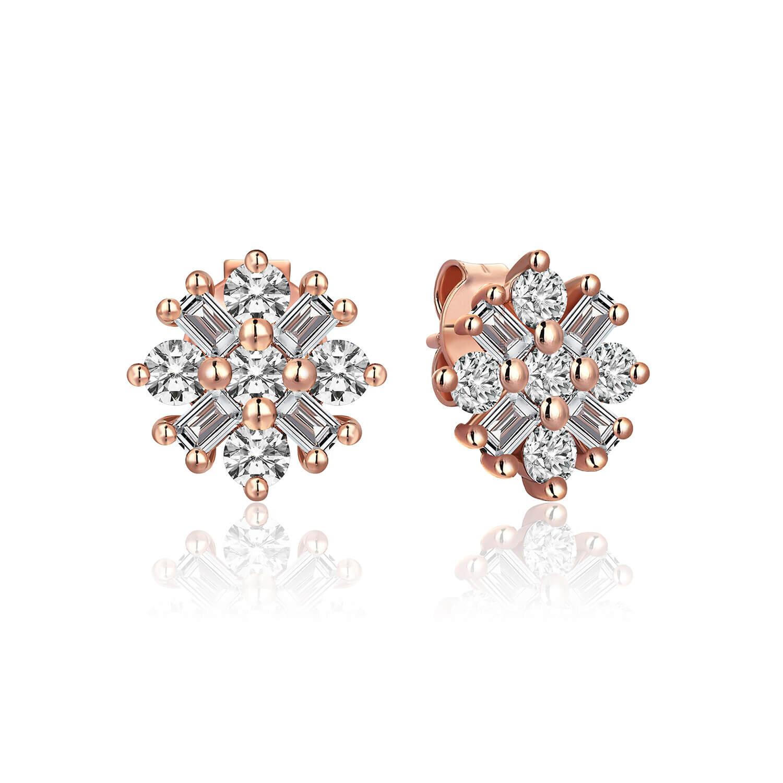 Diamond Earrings Flower of Love