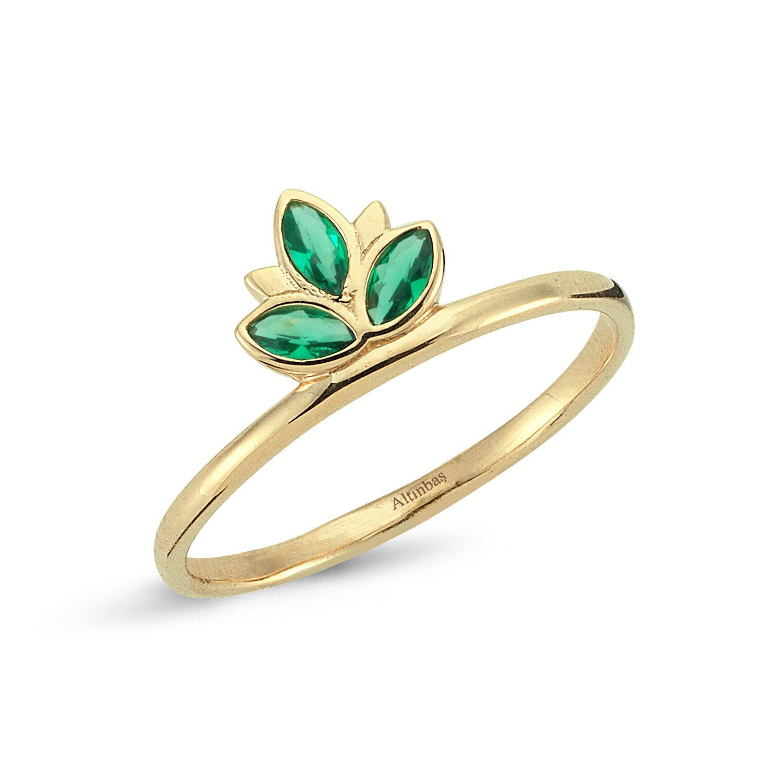 Yeşil Taşlı Altın Lotus Yüzük