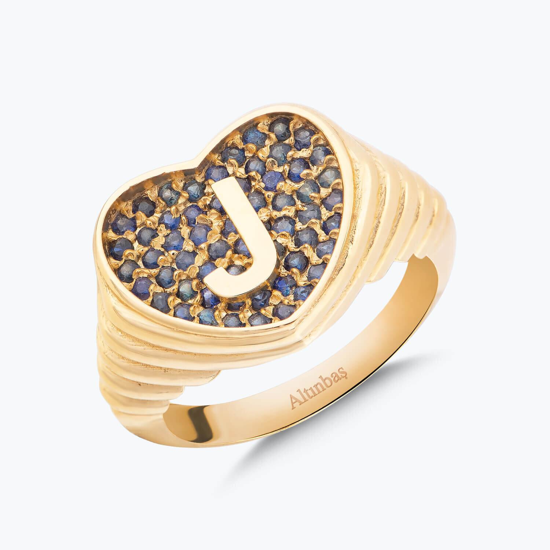 Altın Marin J Harfi Kalp Yüzük