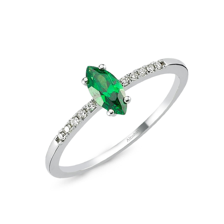 Pırlanta Yeşil Topaz Yüzük