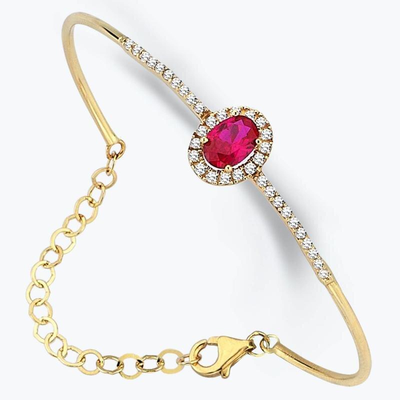 Red Stone Gold Bracelet