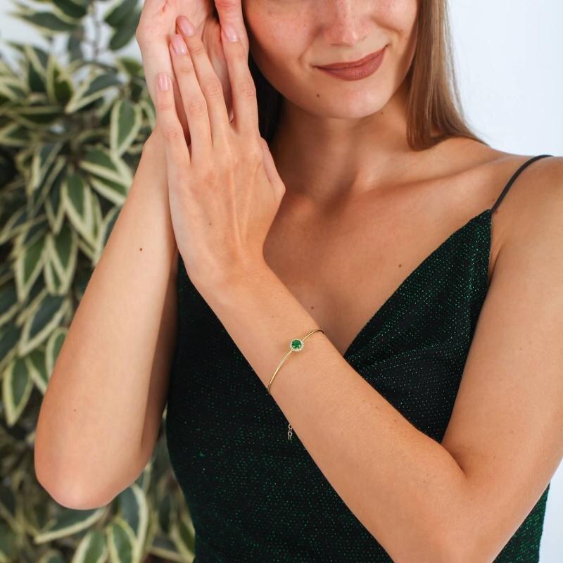 Green Stone Gold Bracelet