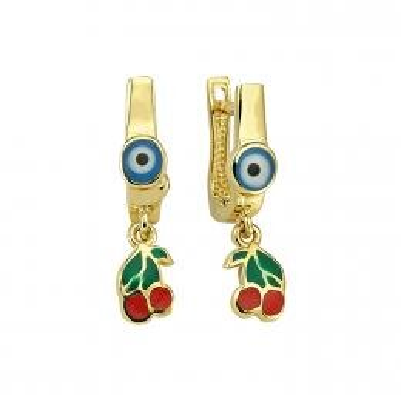Kids Cherry Gold Earrings