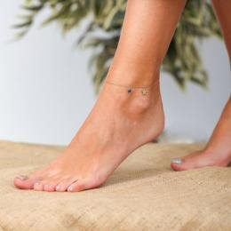 Marin Star Anklet with Lapis Stone