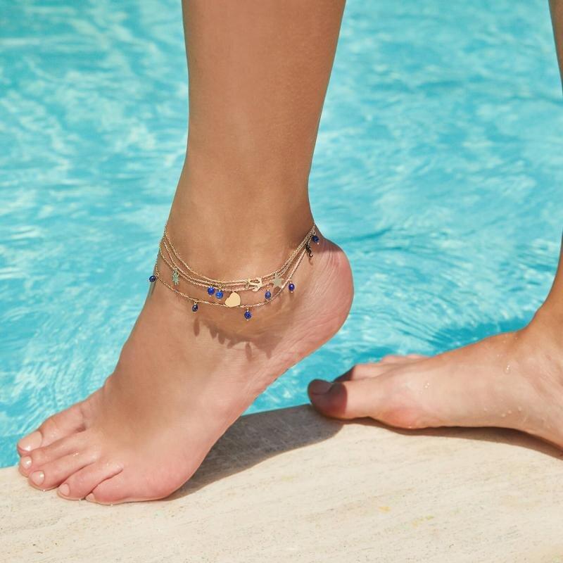 Marin Lapis Stone Gold Anklet
