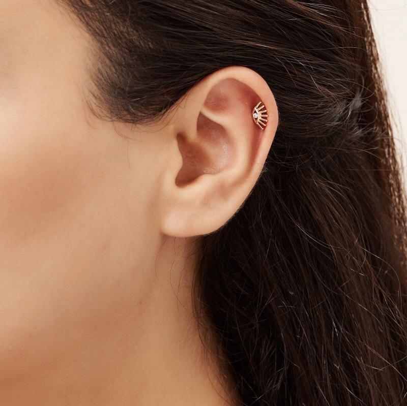 0.02 Karat Pırlanta Göz Tragus Piercing