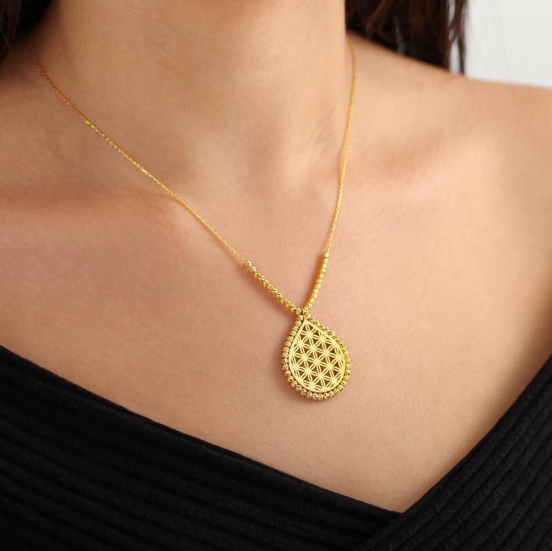 22K Flower of Lİfe Gold Necklace