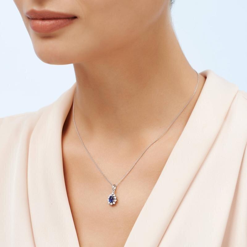 0.12 Carat Collier Diamant Saphir