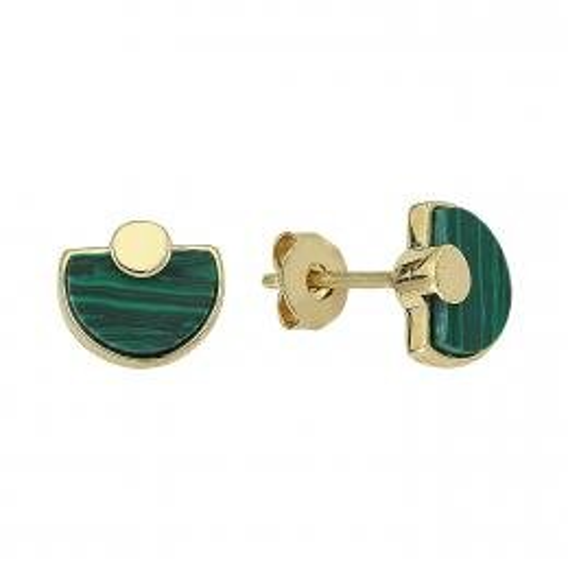 Malachite Stone Gold Earrings