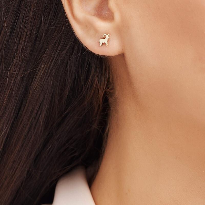 Zodiac Sign Gold Earrings-Taurus