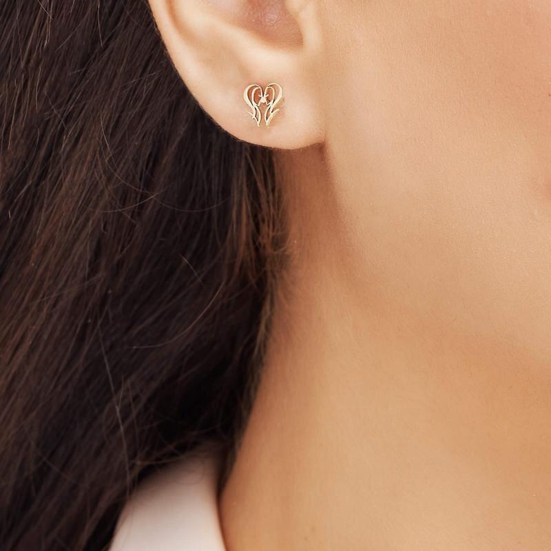 Zodiac Sign Gold Earrings-Gemini
