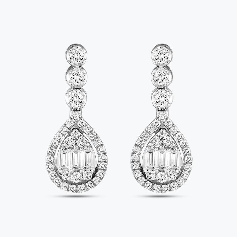 0.45 Carat Baguette Diamond Earrings