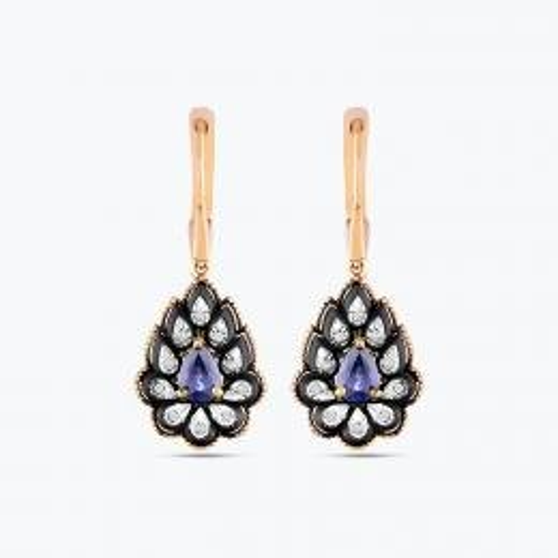 0.08 Carat Sapphire Diamond Earrings