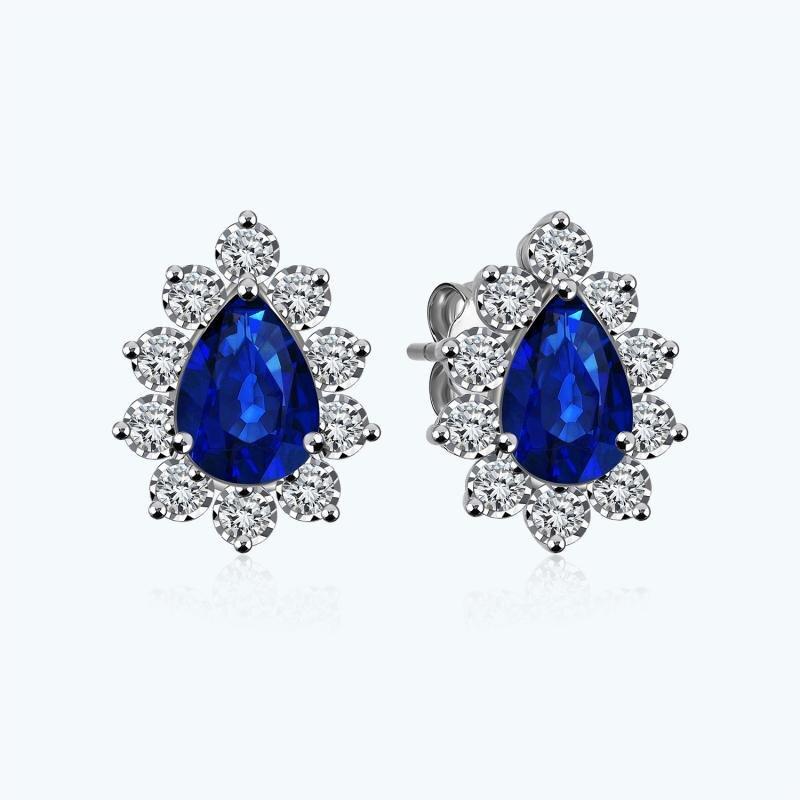 0.24 Carat Diamond Sapphire Earrings