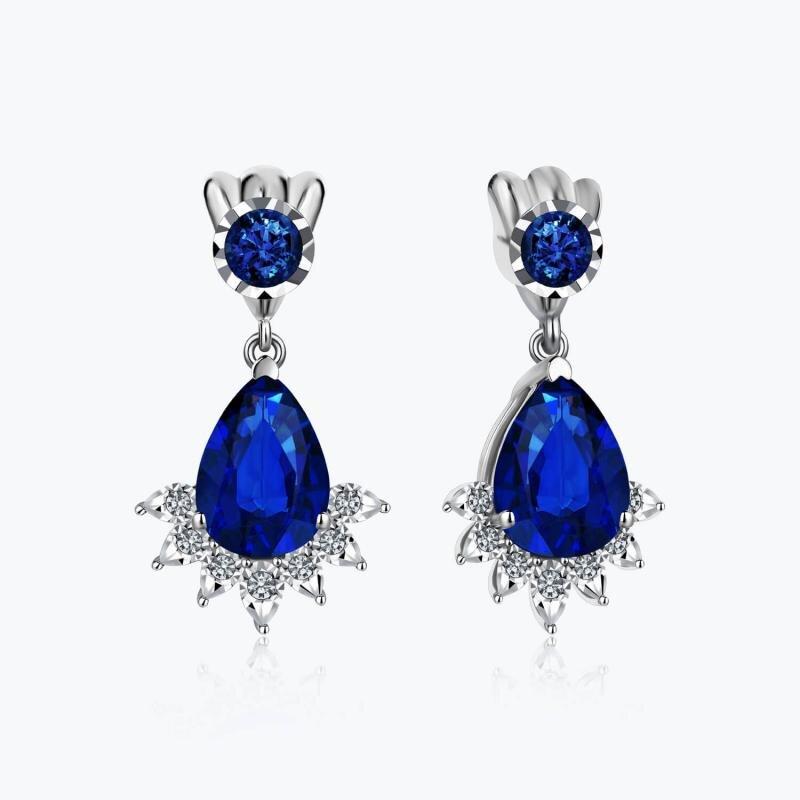 0.06 Carat Sapphire Diamond Earrings