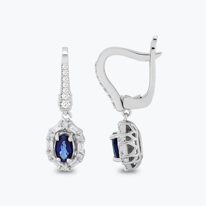 0.25 Carat Sapphire Diamond Earrings