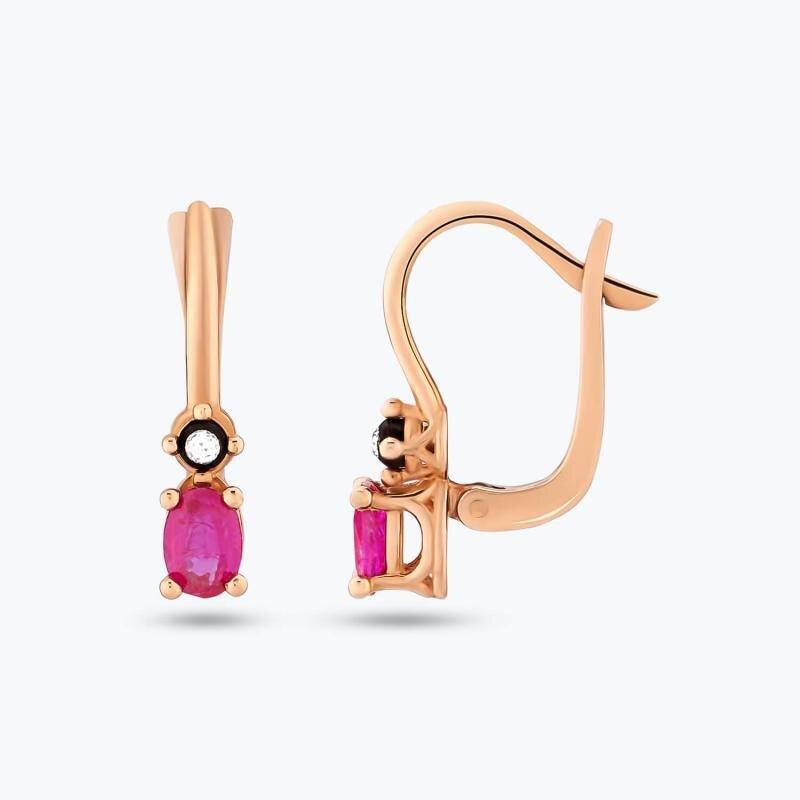 0.05 Carat Ruby Diamond Earrings