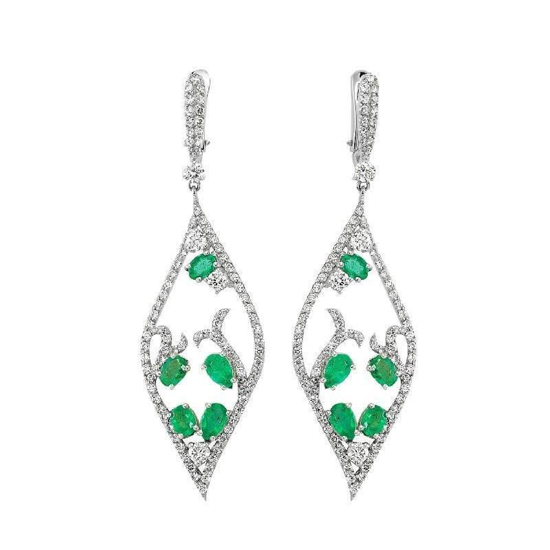1.74 Carat Emerald Diamond Earrings