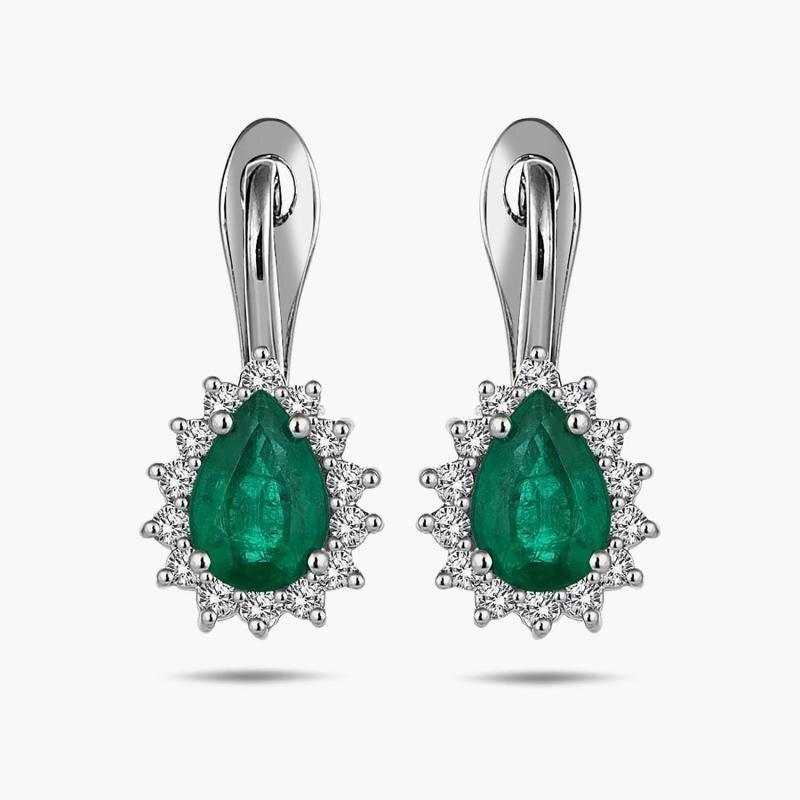 0.35 Carat Emerald Diamond Earrings