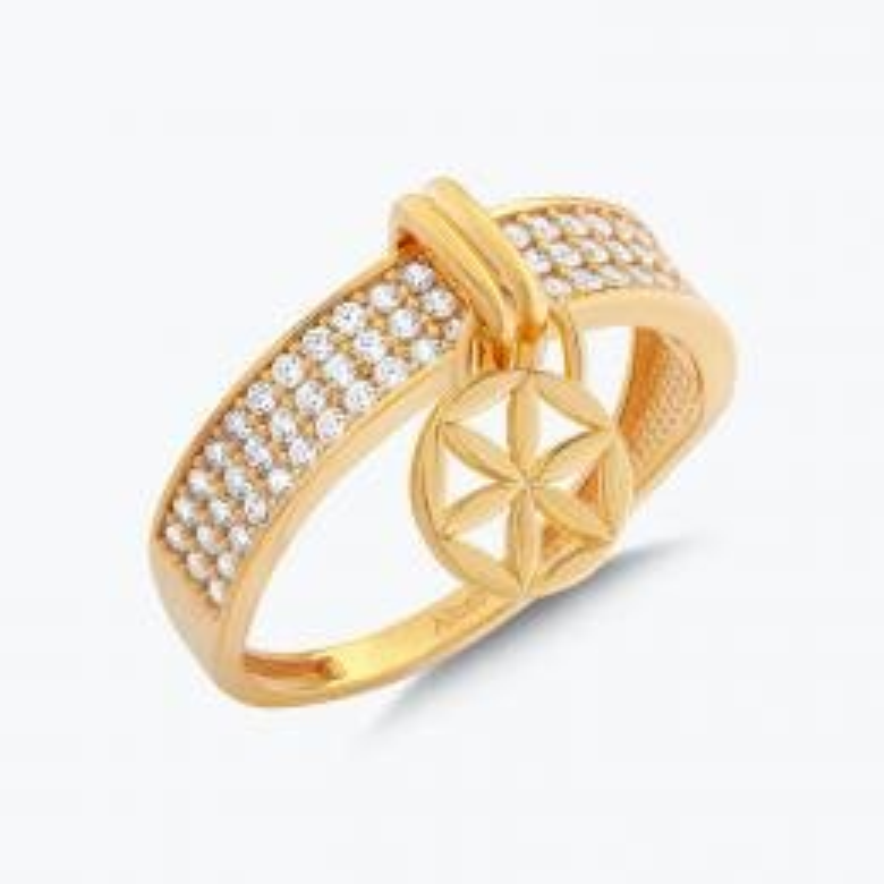 22K Flower of Life Gold Ring