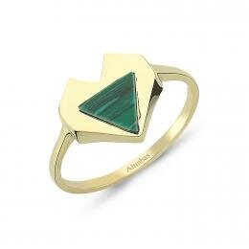 Malachite Stone Gold Ring