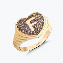 Marin Letter F Heart Gold Ring