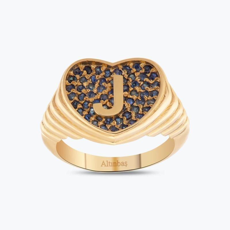 Marin Letter J Gold Ring