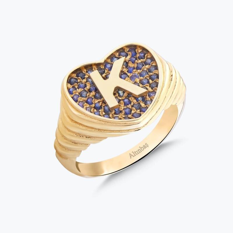 Letter K Gold Ring Marin