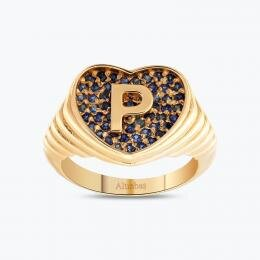 Marin Letter P Gold Ring