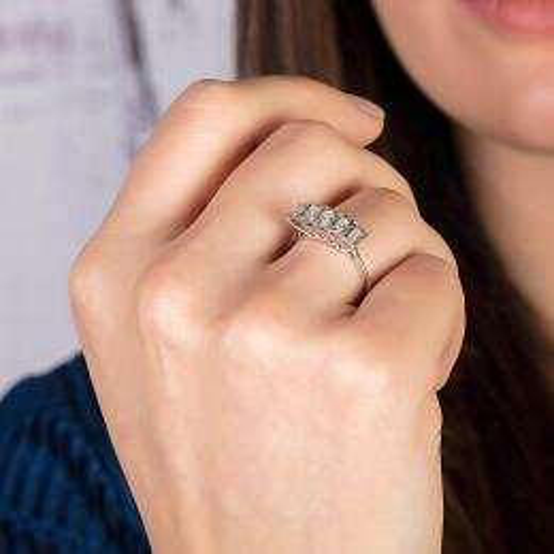 0.24 Carat Five Stone Baguette Diamond Ring