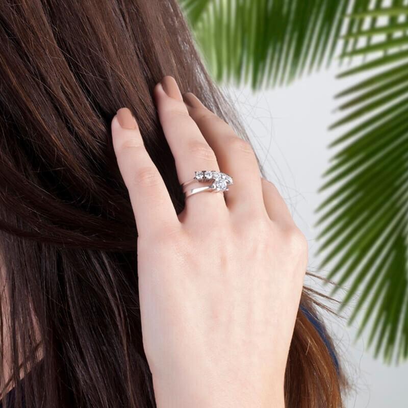 0.72 Carat Bagues Diamant Cinq Pierres