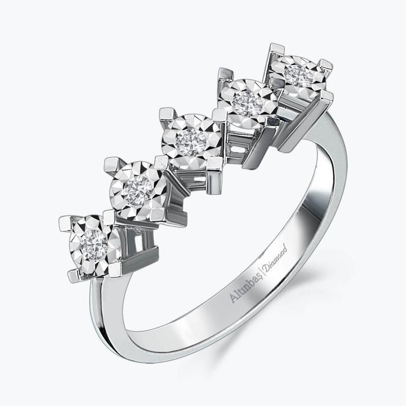0.13 Carat Five Stone Diamond Ring