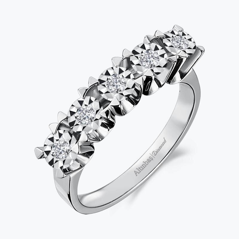 0.08 Carat Five Stone Diamond Ring