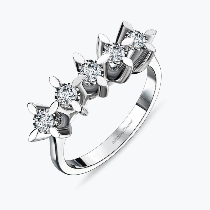 0.42 Carat Five Stone Diamond Ring