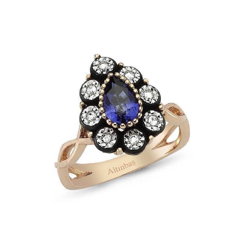0.09 Carat Sapphire Diamond Ring