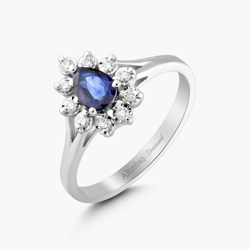 0.12 Carat Sapphire Diamond Ring
