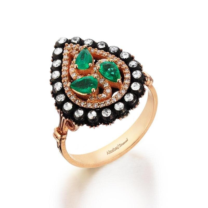 0.45 Carat Emerald Diamond Ring
